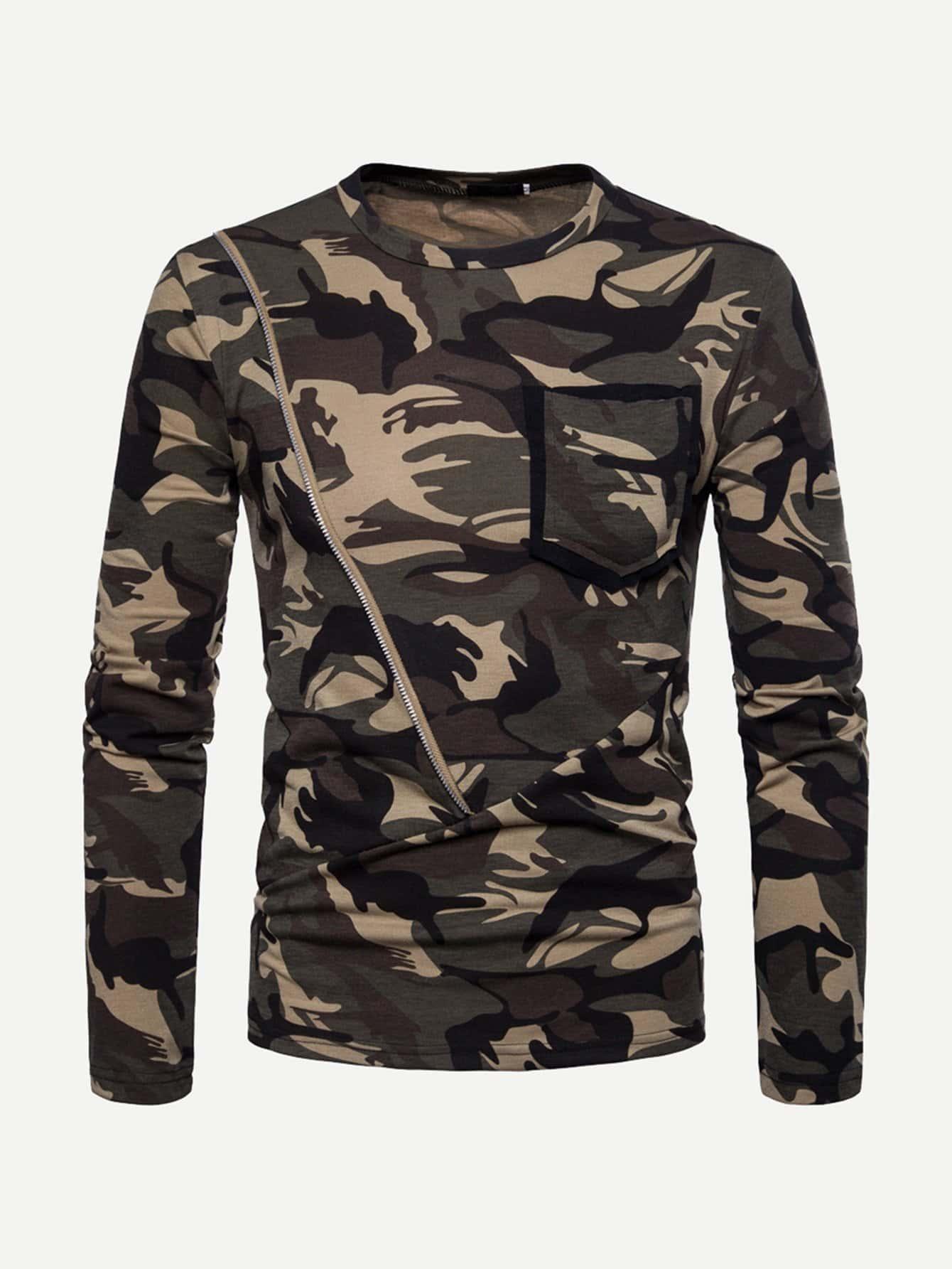 Купить Камуфляжная футболка с длинными рукавами для мужчины, null, SheIn