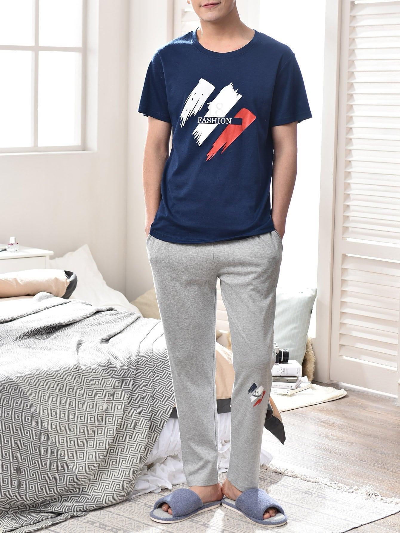 Men Letter Print Colorblock Pajama Set