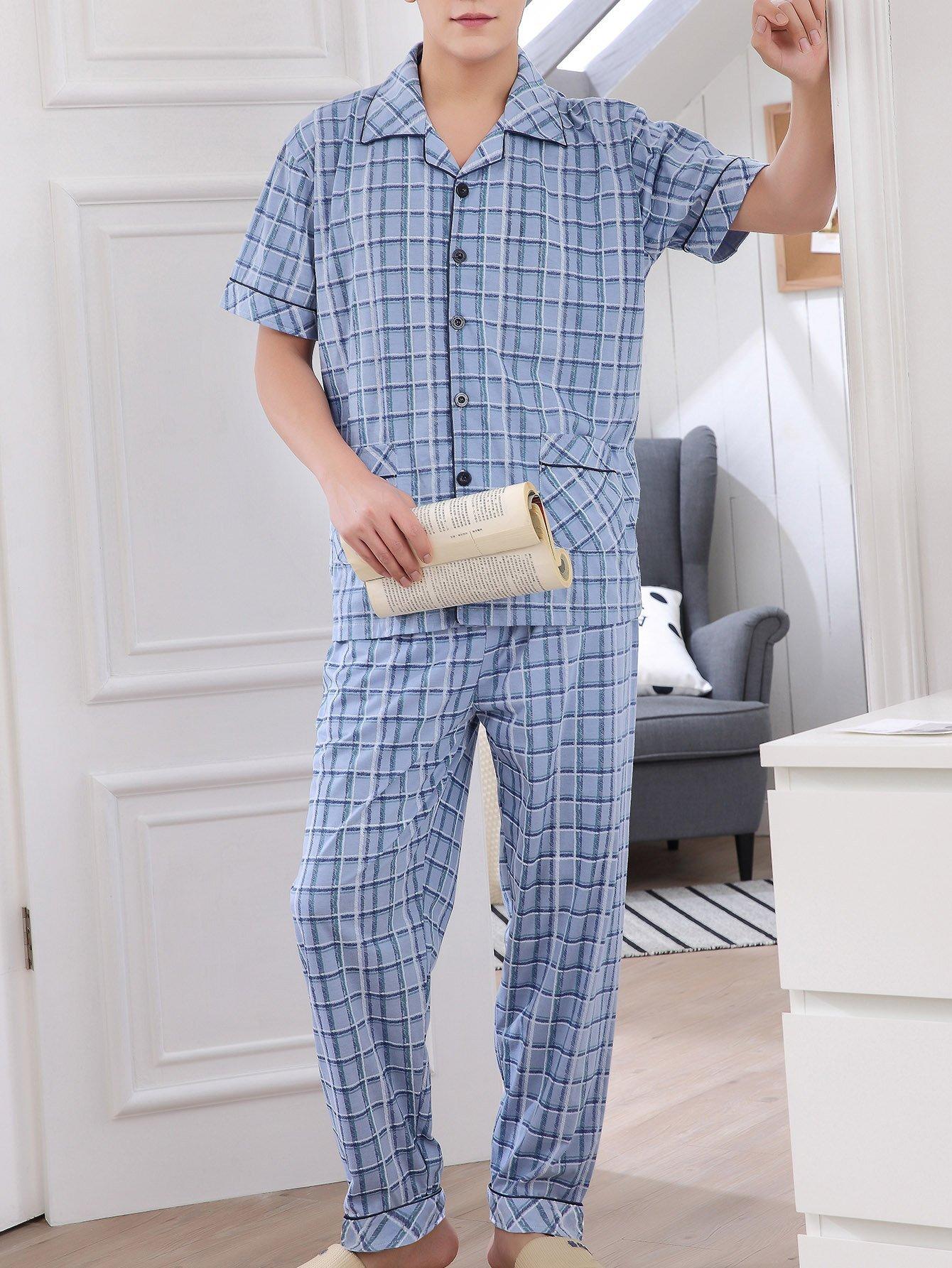 Купить Комплект пижамы в клетку и с украшением пуговицы для мужчины, null, SheIn