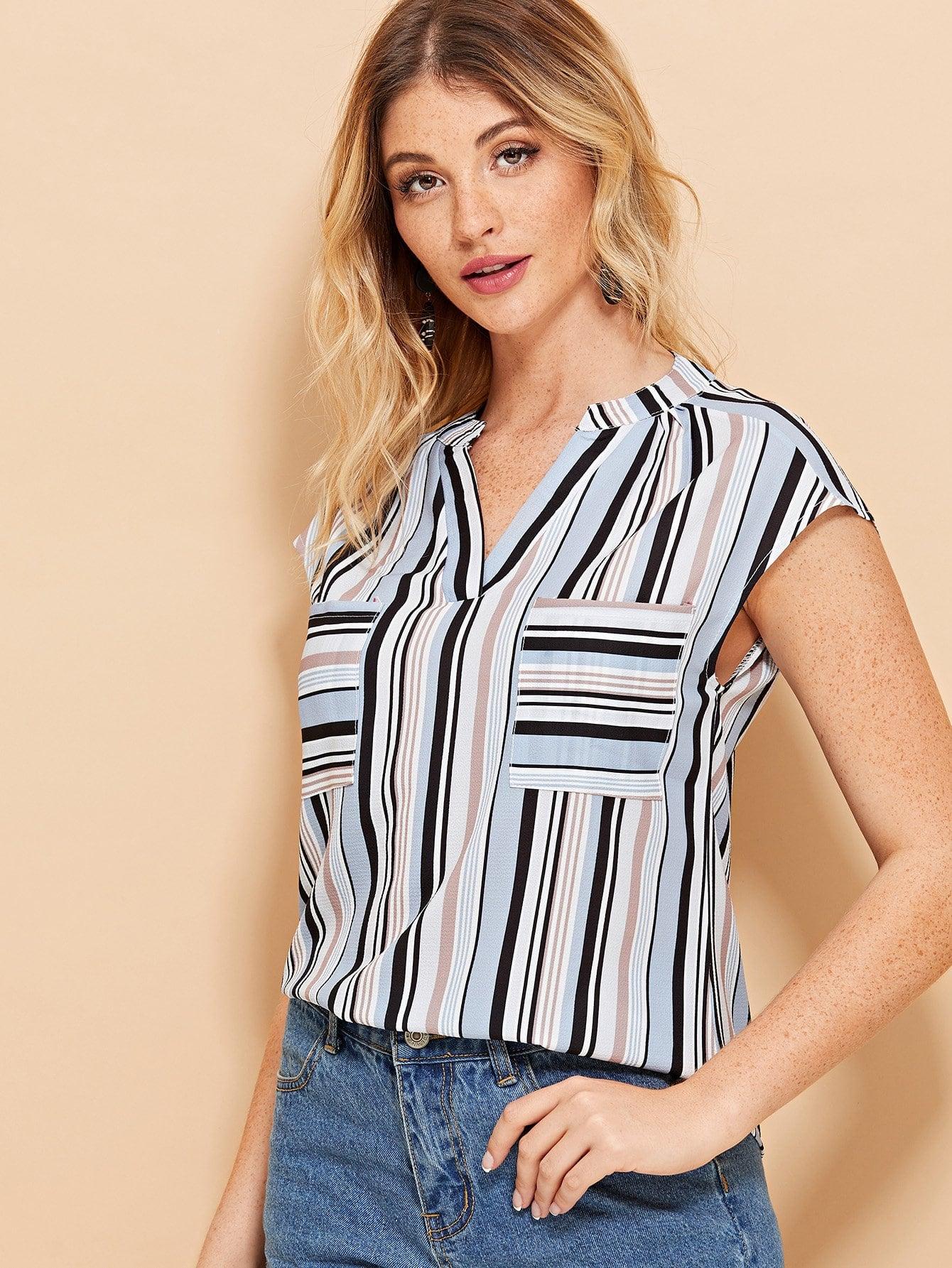 Купить Полосатая блузка с v-образным вырезом и карманами, Nathane, SheIn