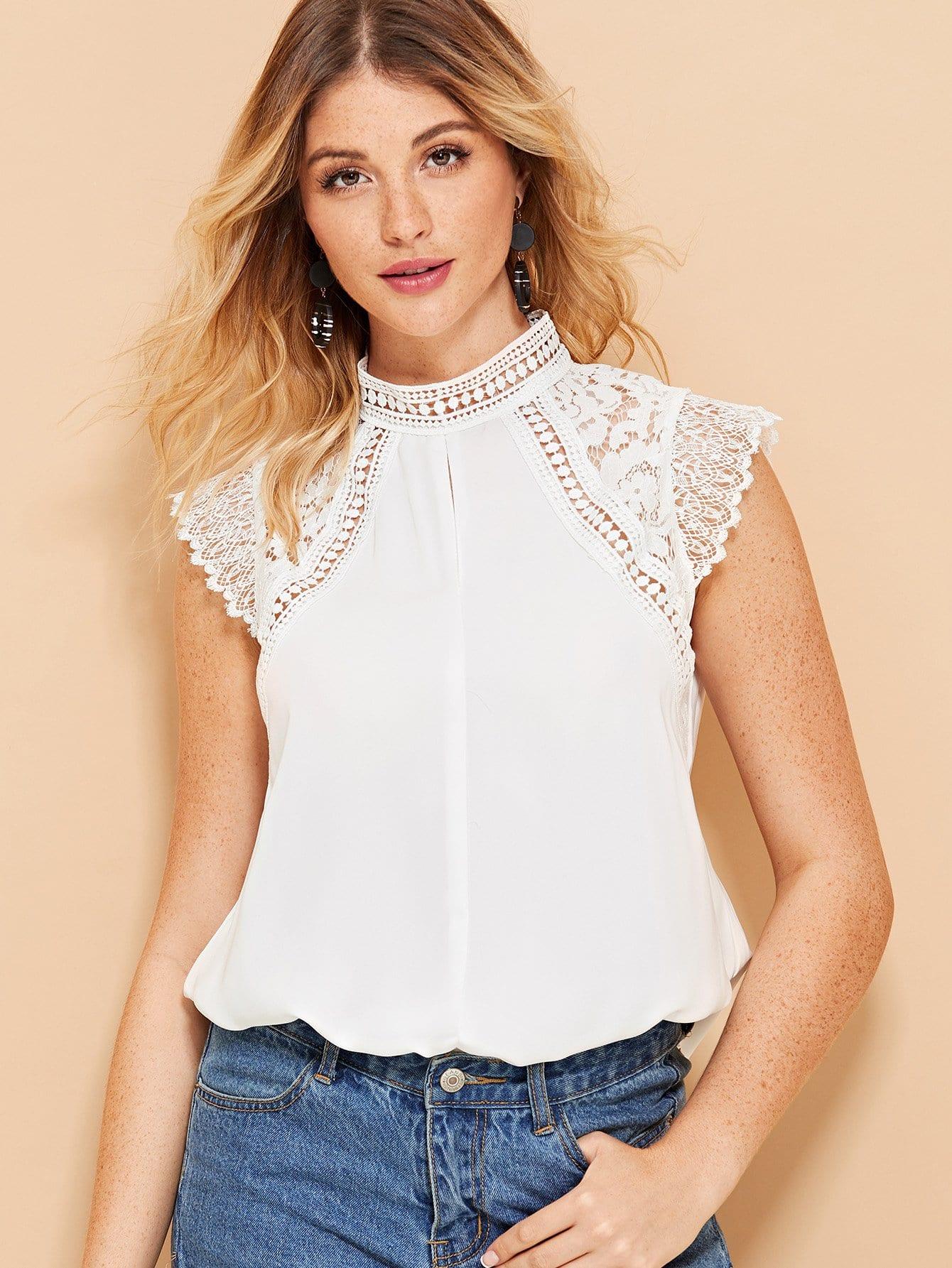 Купить Контрастная блузка шеи замочной скважины на задней, Nathane, SheIn
