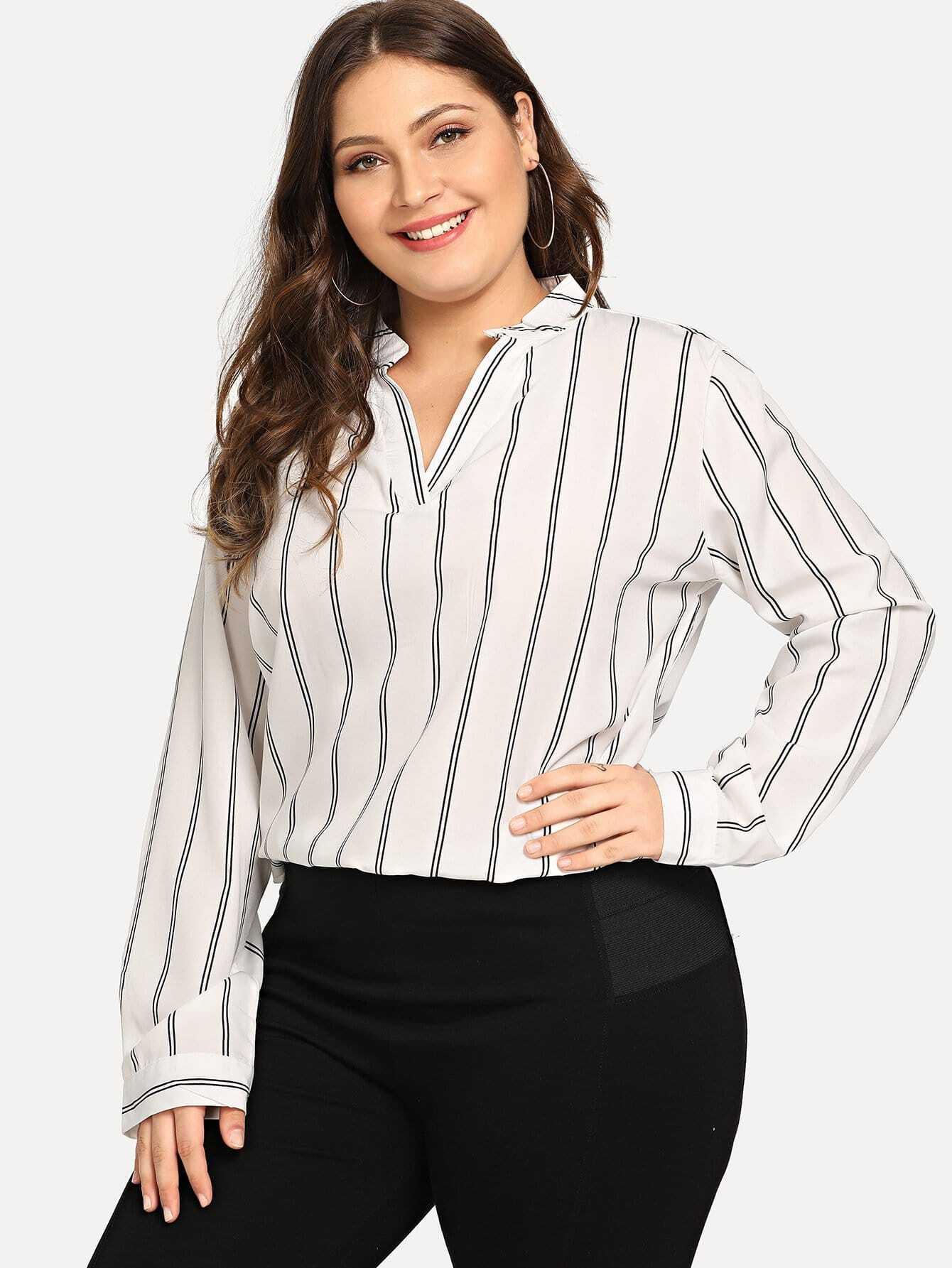Купить Большая полосатая рубашка с V-образным вырезом, Carol, SheIn