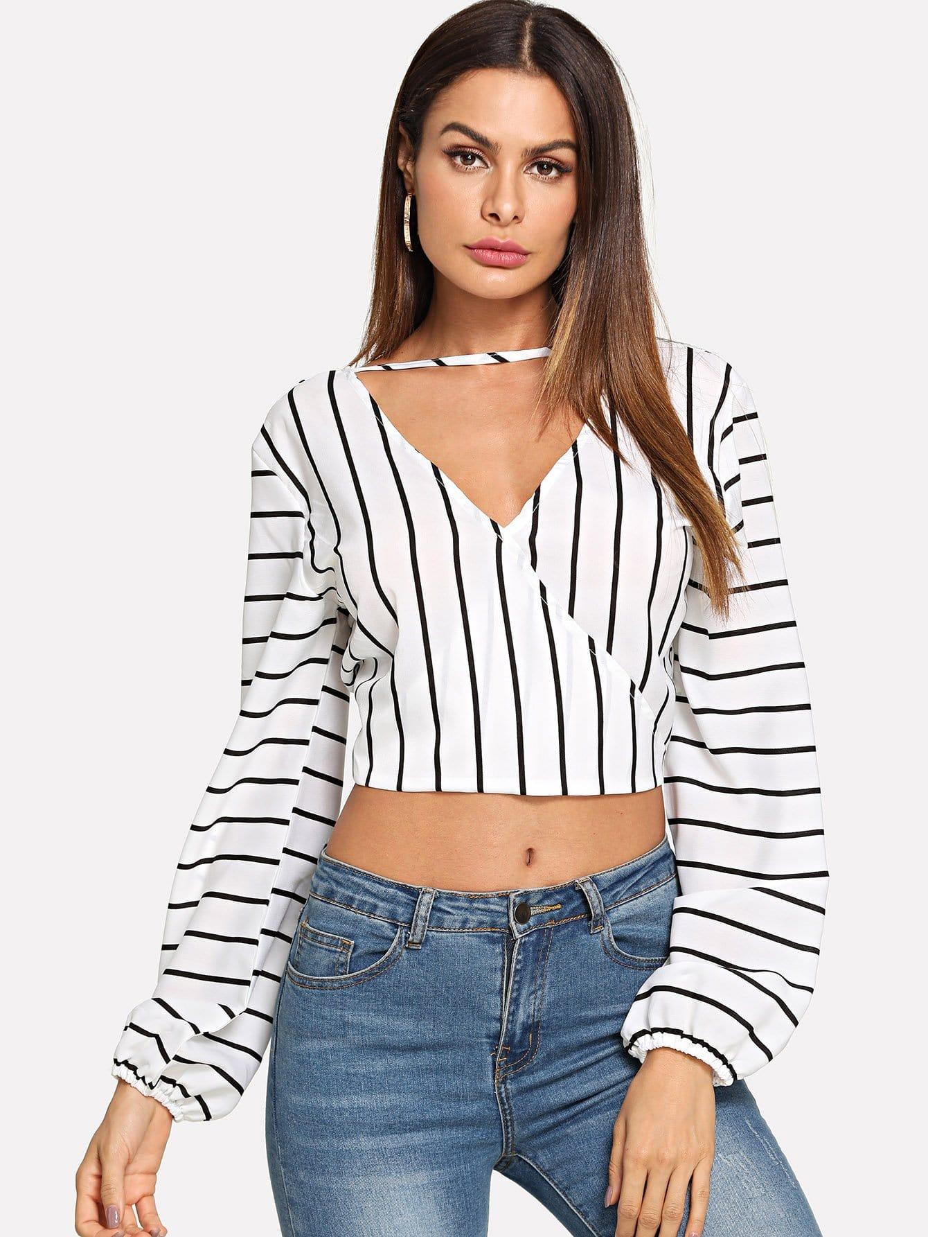 Купить Полосатая рубашка с V-образным вырезом, Andy, SheIn