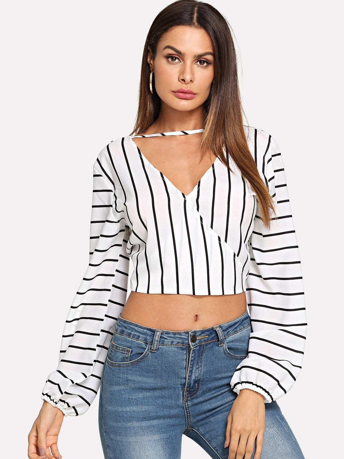 Surplice Front Striped Blouse