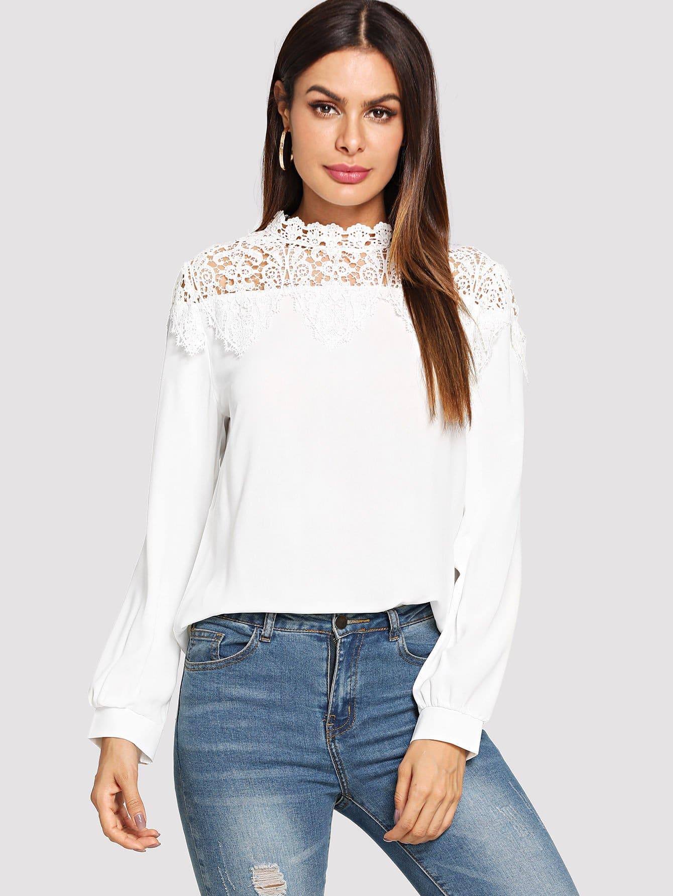 Купить Простая рубашка со симметрическими кружевами, Andy, SheIn
