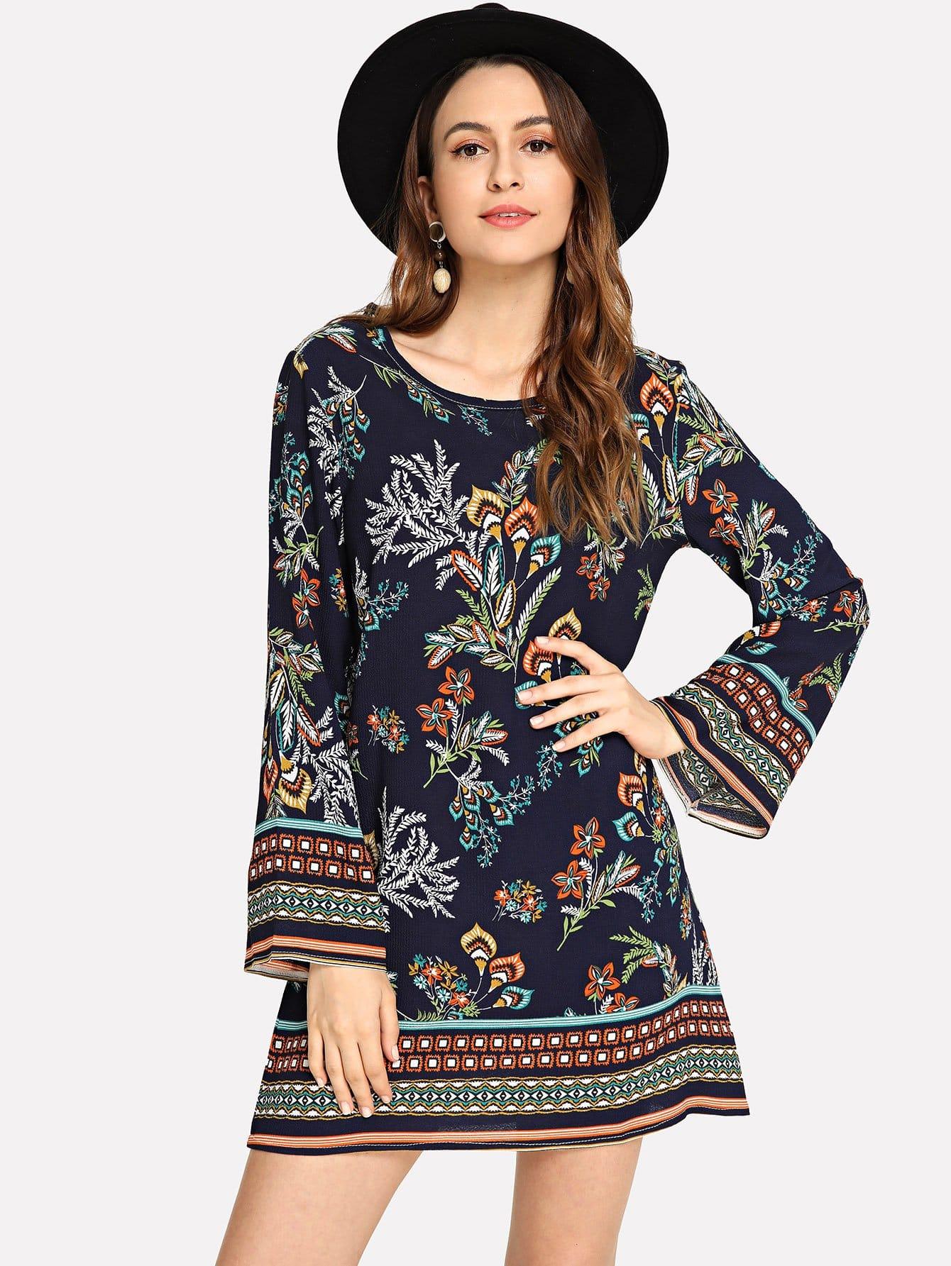 Купить Платье с круглым вырезом и с цветочным принтом, Jana, SheIn