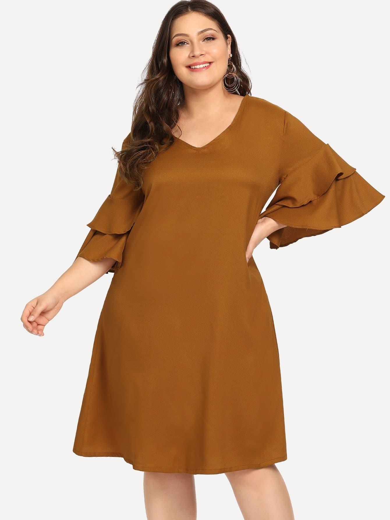 Купить Большое простое платье и рукава с розеткой, Carol, SheIn