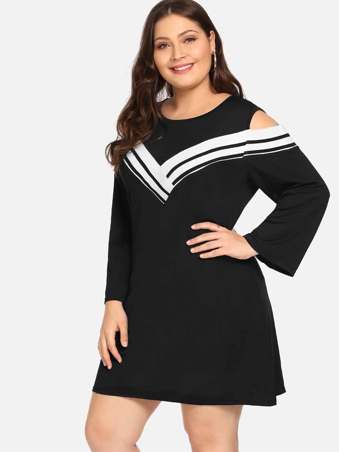 Купить Большое полосатое платье с заниженной линией плеч, Carol, SheIn