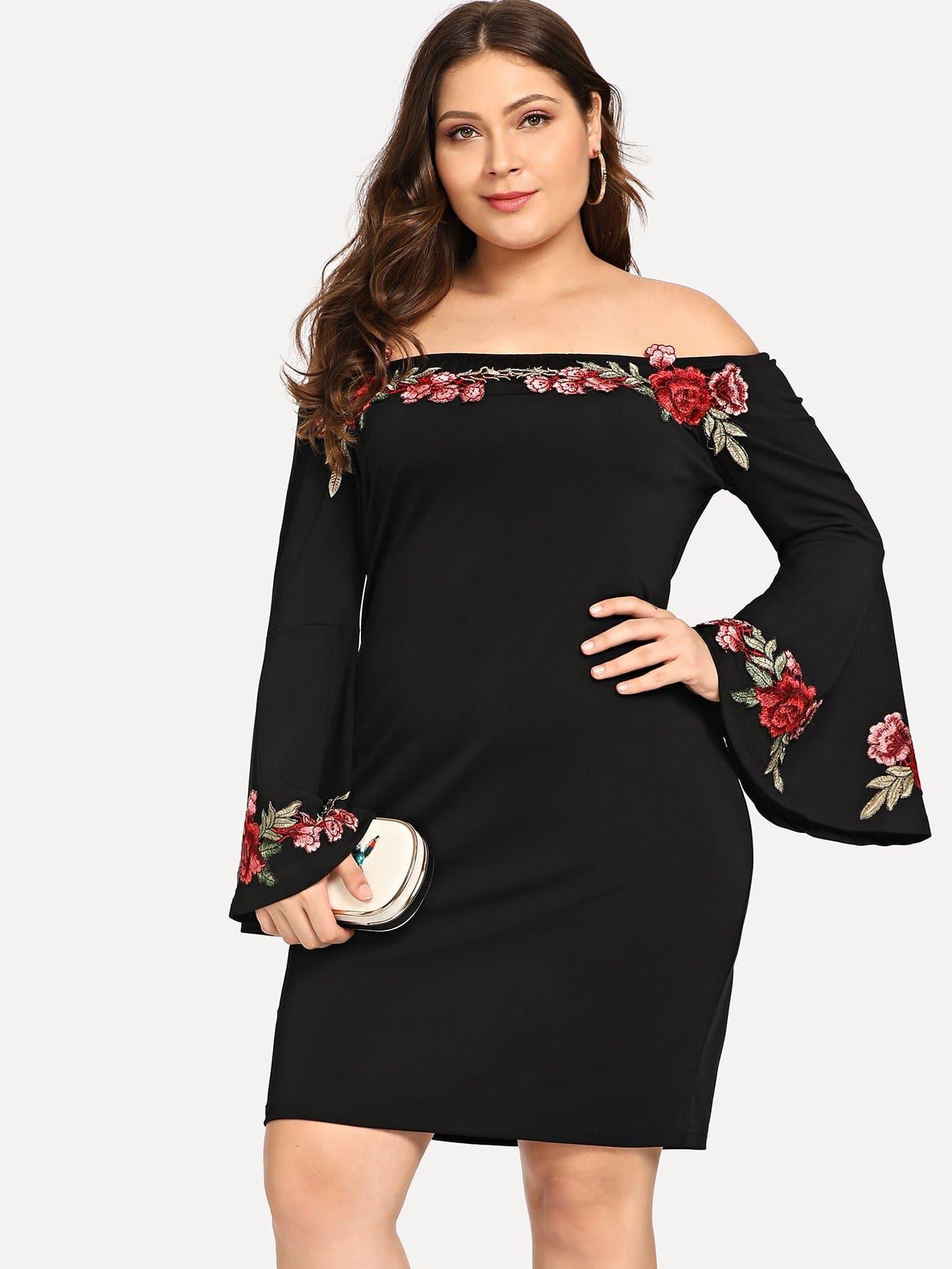 Купить Большое платье без бретелек и с рисуком розы, Carol, SheIn
