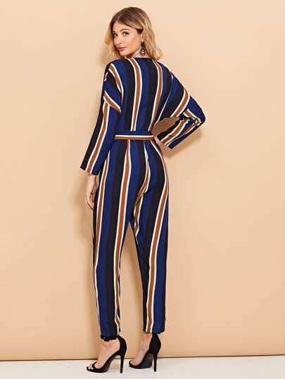 SheIn / Striped Wrap Self Tie Waist Jumpsuit
