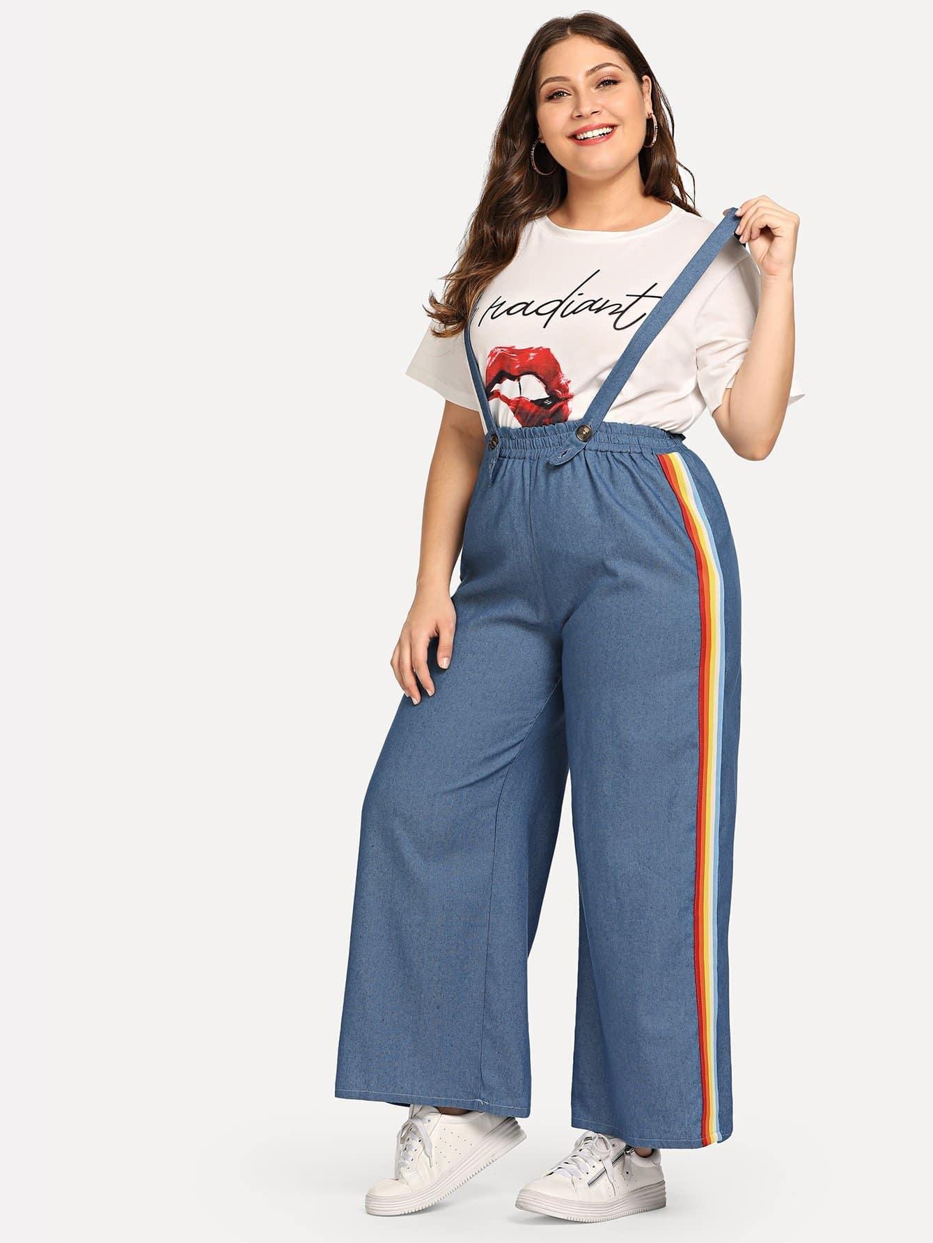 Купить Большие брюки с полосами по обе стороны и лента с рисунками радужными, Carol, SheIn