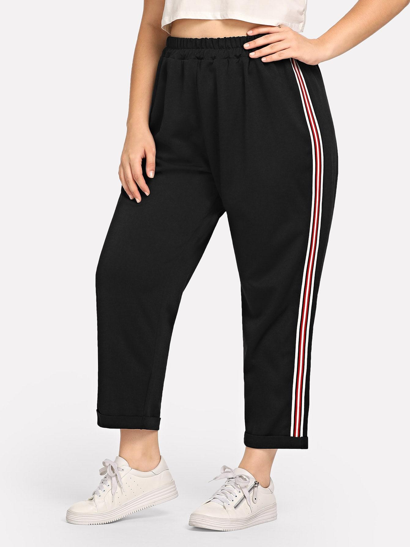 Купить Большие брюки с басоном эластичным и с полосами по обе стороны, Carol, SheIn