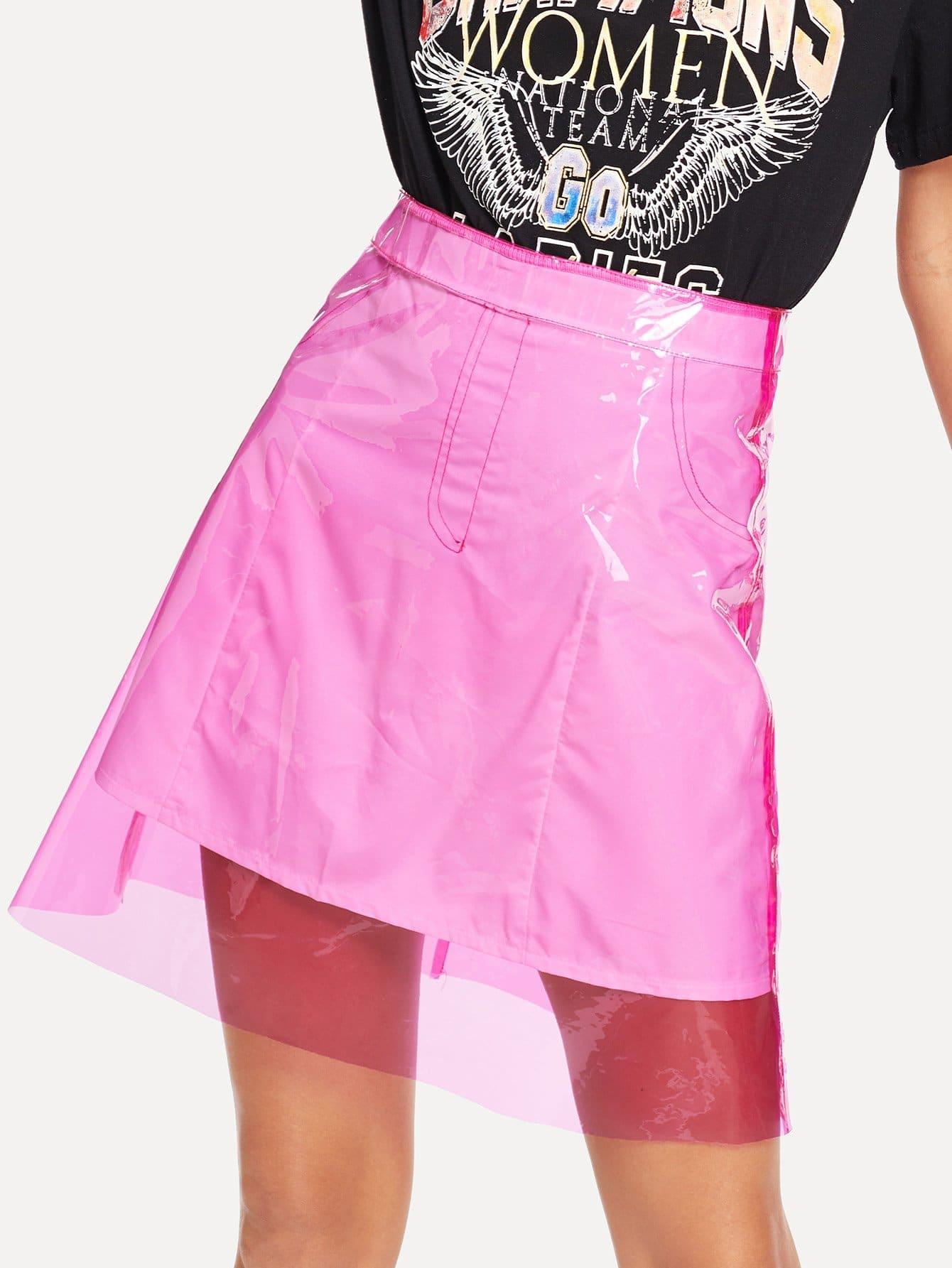 Купить Молния сзади PVC юбки, Starl Lane, SheIn