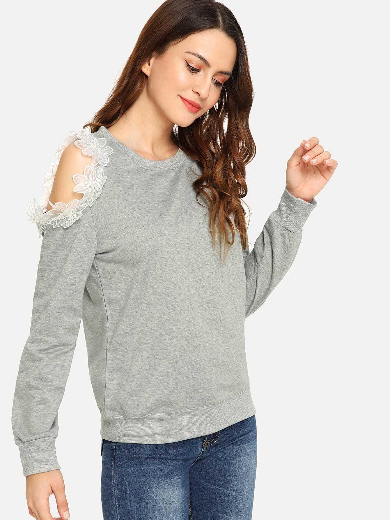 Купить Пуловер с открытыми плечами и с украшением жемчугов, Jana, SheIn