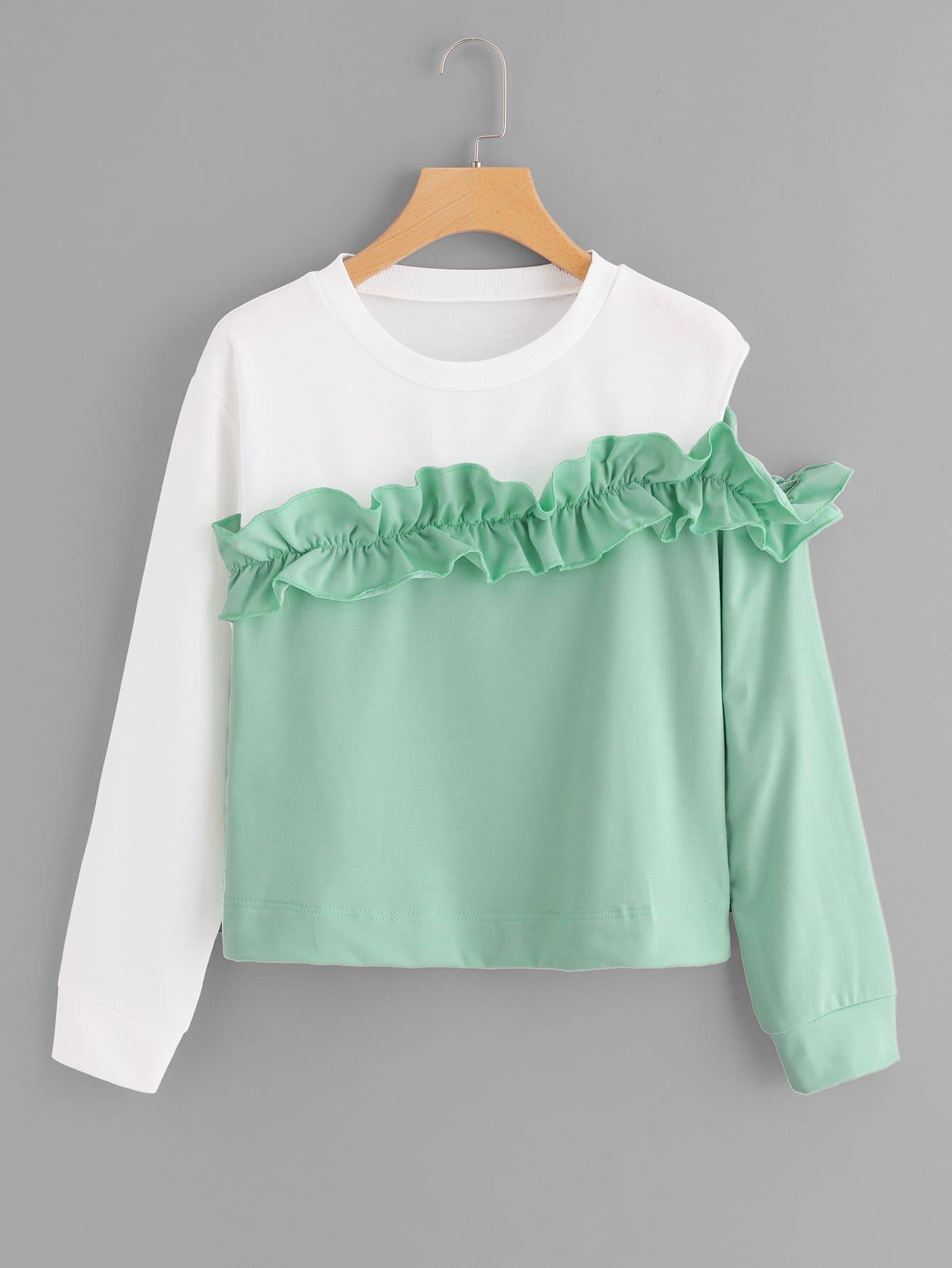 Купить Пуловер с открытыми плечами и со складками, null, SheIn