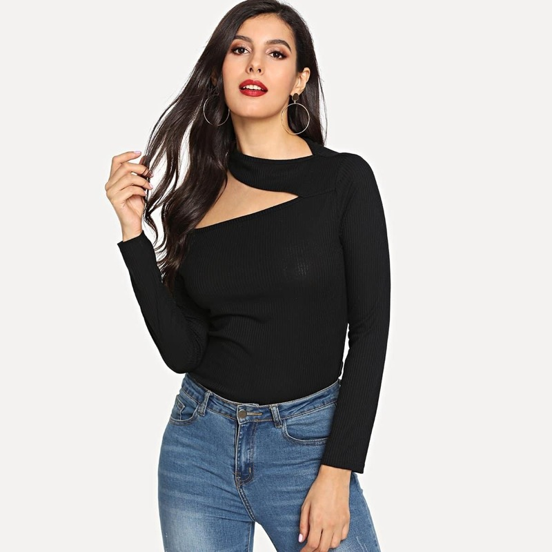 Cold Shoulder Solid Tee, Black