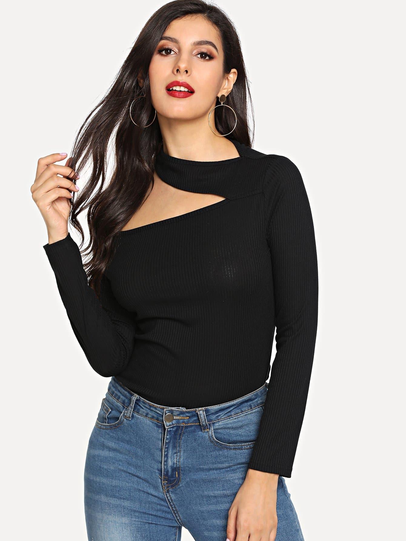 Купить Простая футболка с открытыми плечами, Jeane, SheIn