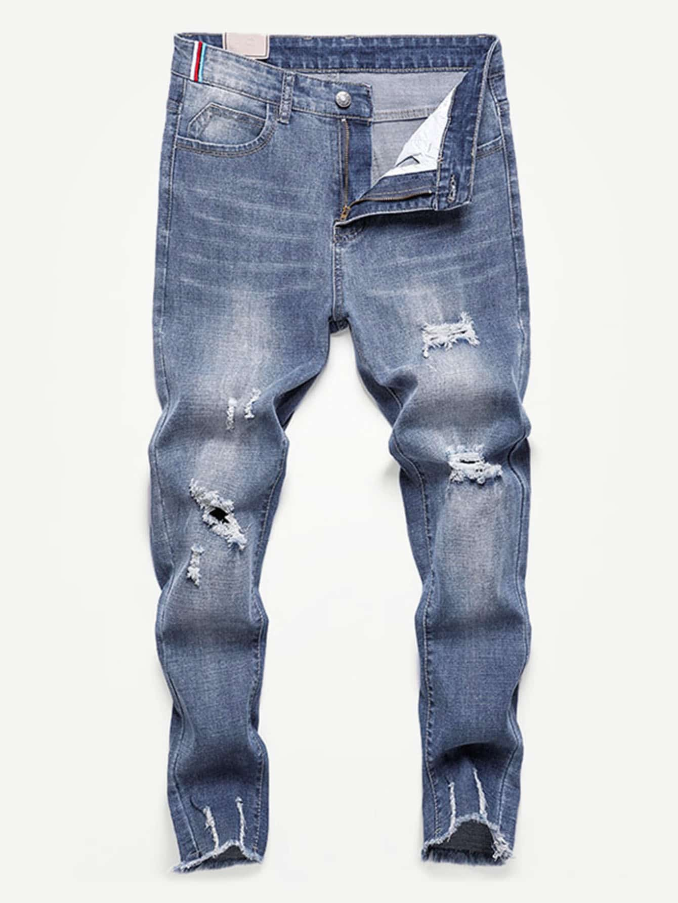 Men Destroyed Frayed Hem Skinny Jeans