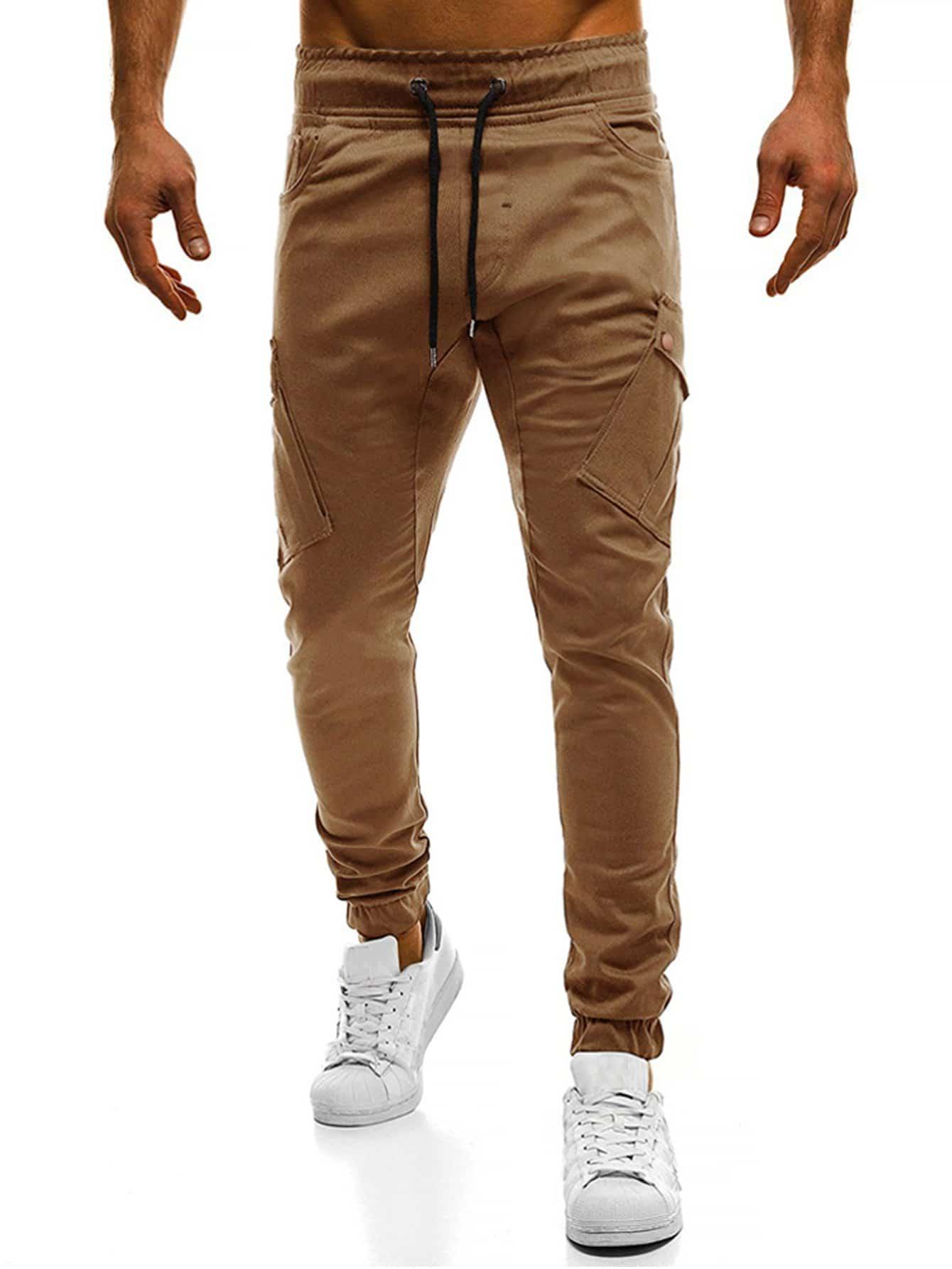 Men Pockets Decoration Plain Drawstring Pants