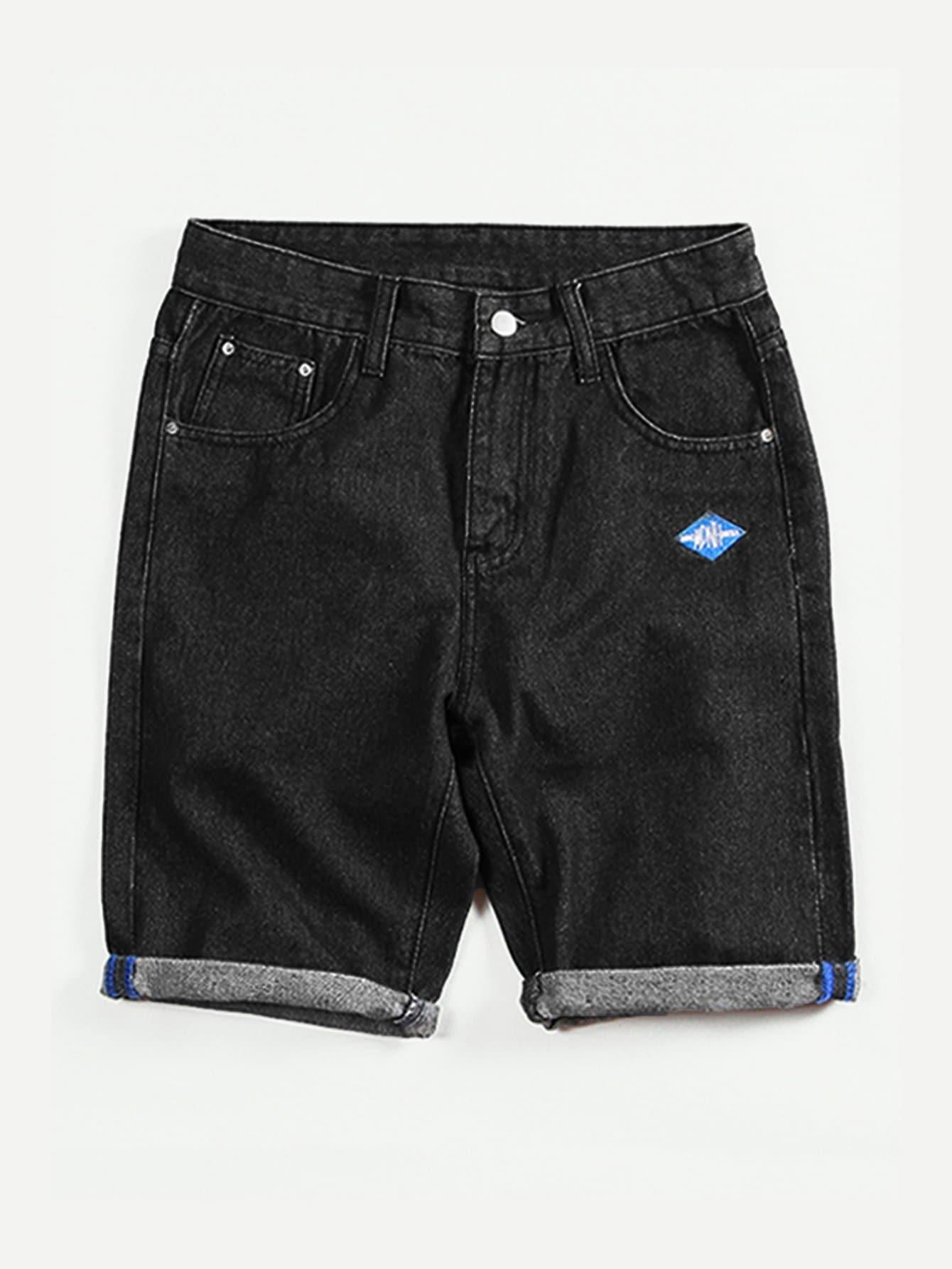 Купить Джинсовые шорты и рольный подол для мужчины, null, SheIn