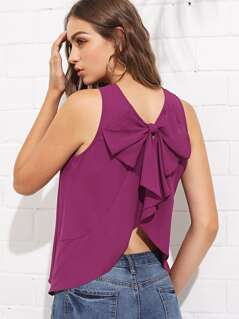 Oversized Bow Curved Back Shell Top