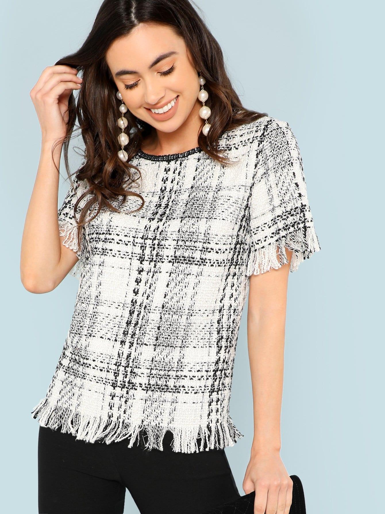 Купить Рубашка в клетку и из грубого сукна и сырой подол, Kelli S., SheIn