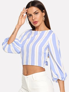 Bow Tie Back Striped Crop Top