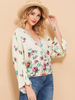 Wrap Flower Print Top