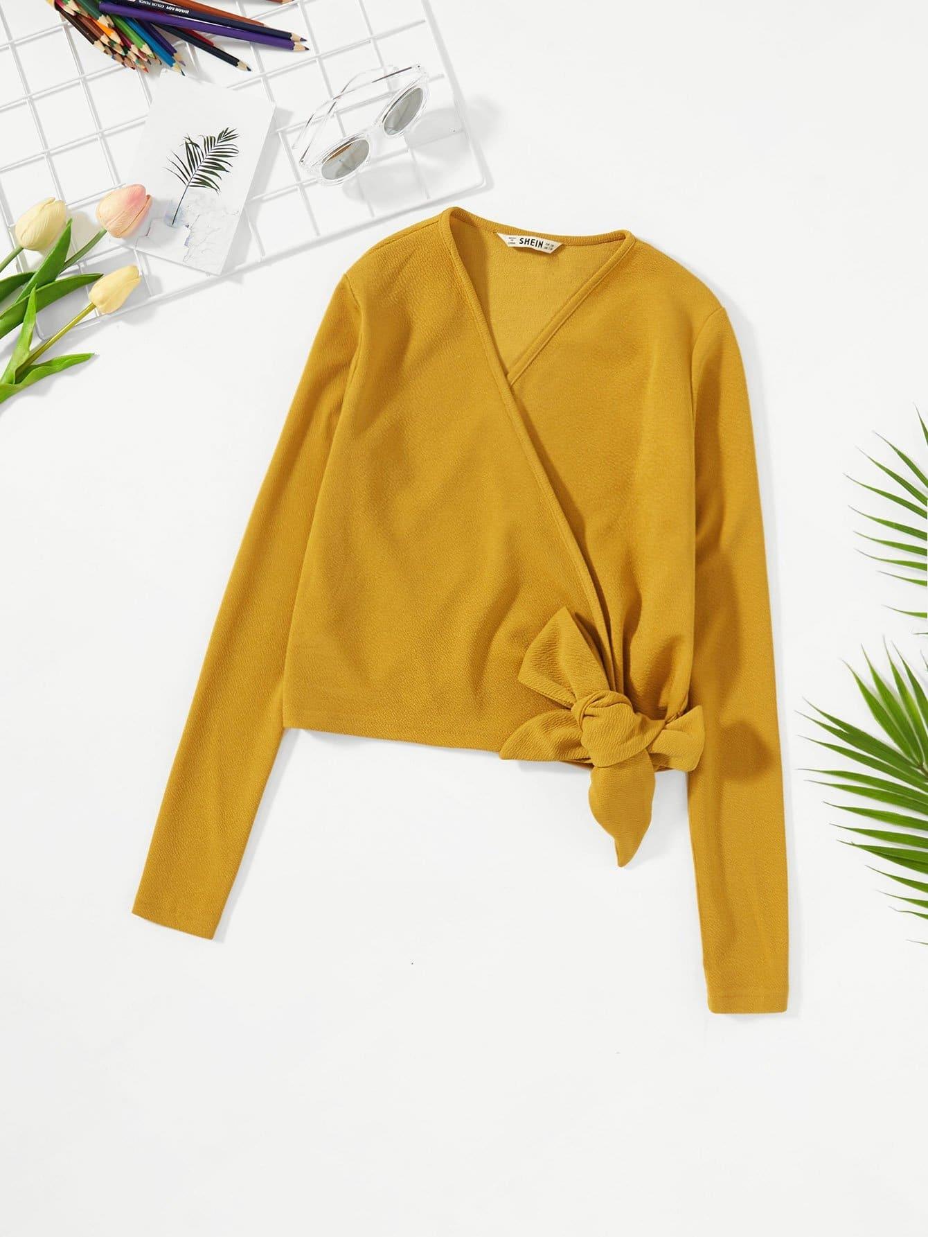 Купить Текстурированная облегающая рубашка и с украшением банта по обе стороны для девочки, null, SheIn