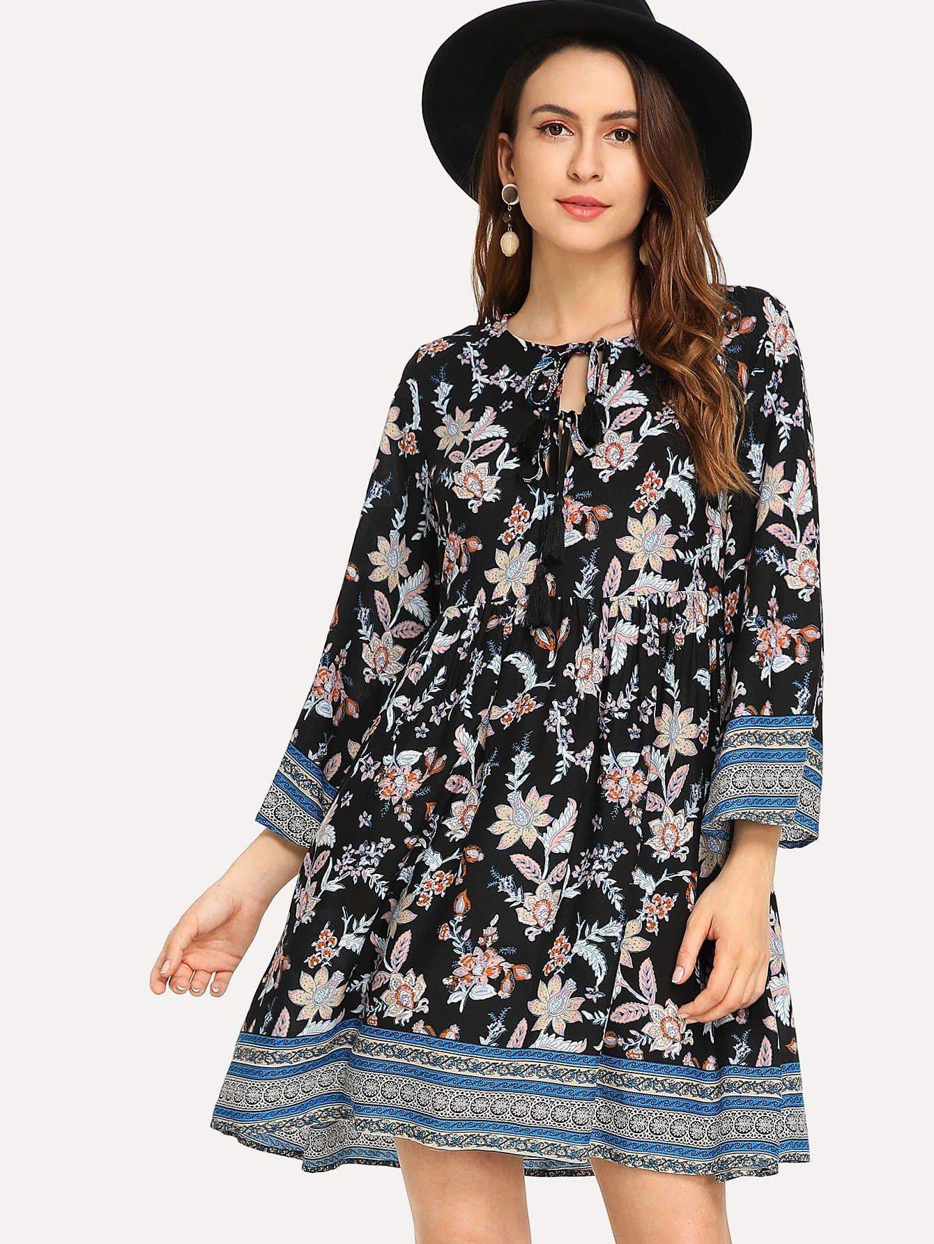 Купить Платье в цветочек с v-образным воротником, Jana, SheIn