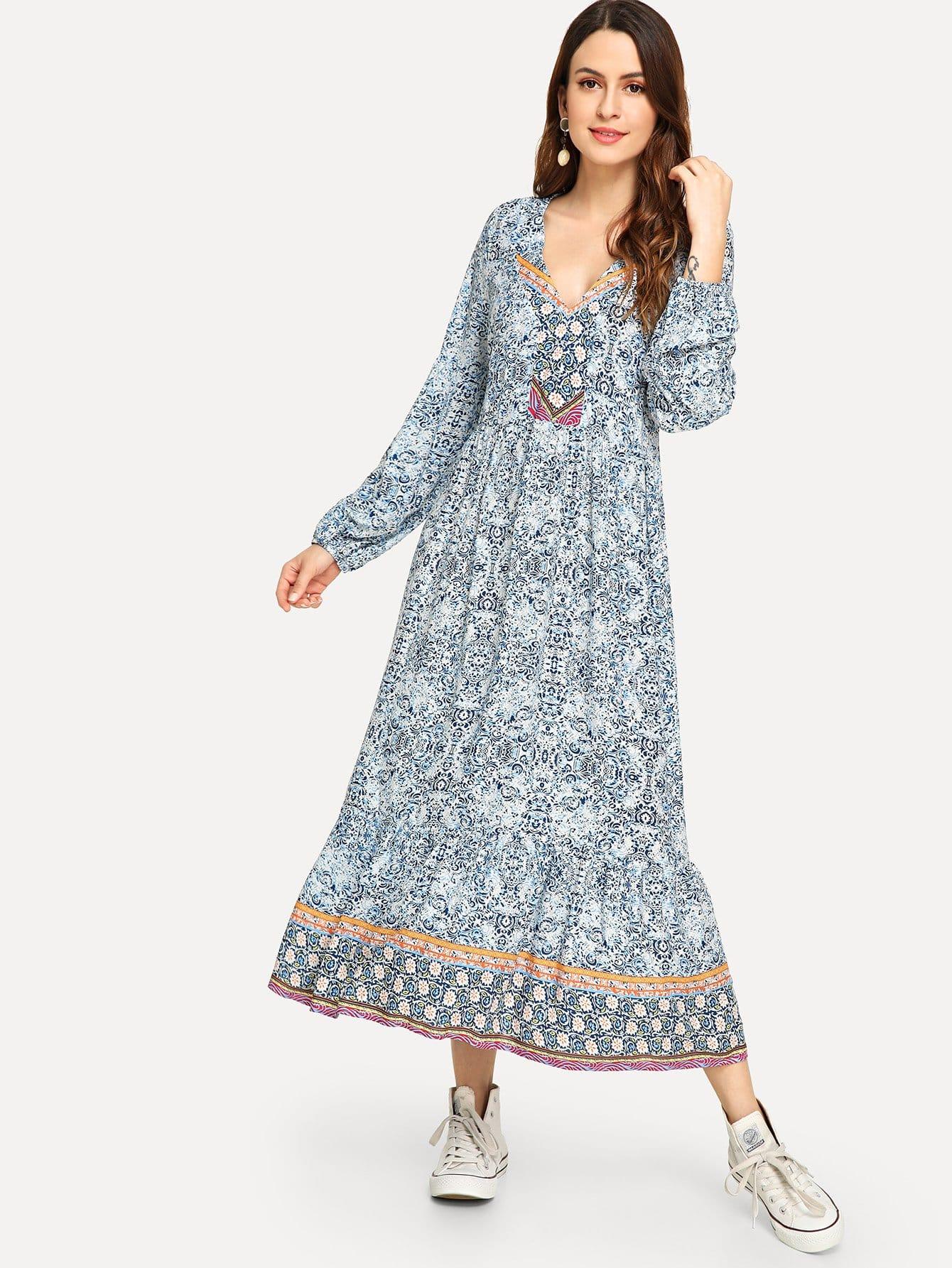 Купить Платье с принтом племя, Jana, SheIn