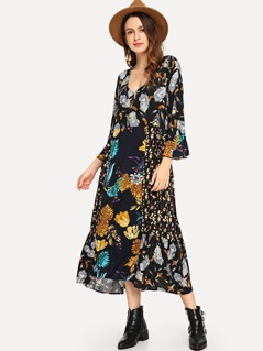Bell Sleeve Botanical Print Dress