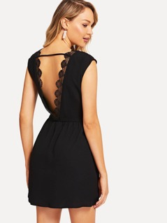 Embroidered Embellished Plunging Neck Dress