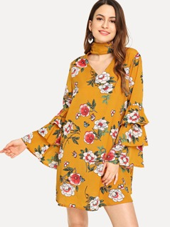 Choker Neck Layered Flounce Sleeve Floral Dress