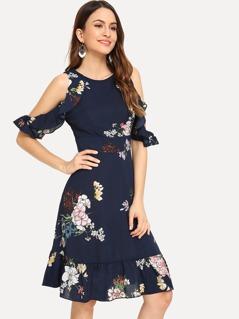 Cold Shoulder Floral Ruffle Hem Dress