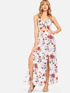 Cut Out Knot Floral Cami Dress