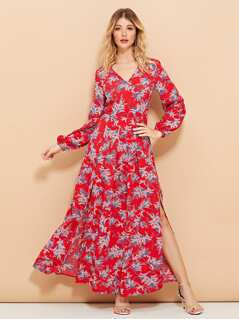 V-Neck Split Floral Print Dress