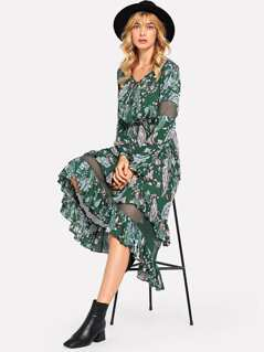 Tie Neck Mesh Contrast Floral Dress