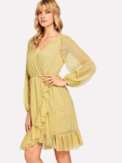 Ruffle Detail Bishop Sleeve Wrap Dress
