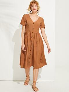 Pocket & Button Front V-Neck Plain Dress