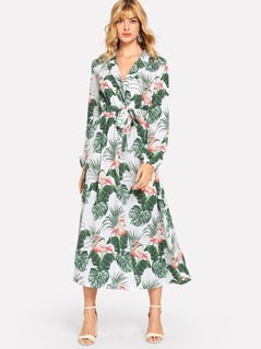 Notched Neck Tropical Print Dress