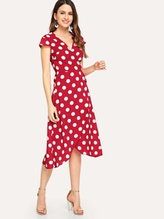 Surplice Neck Polka Dot Print Dress