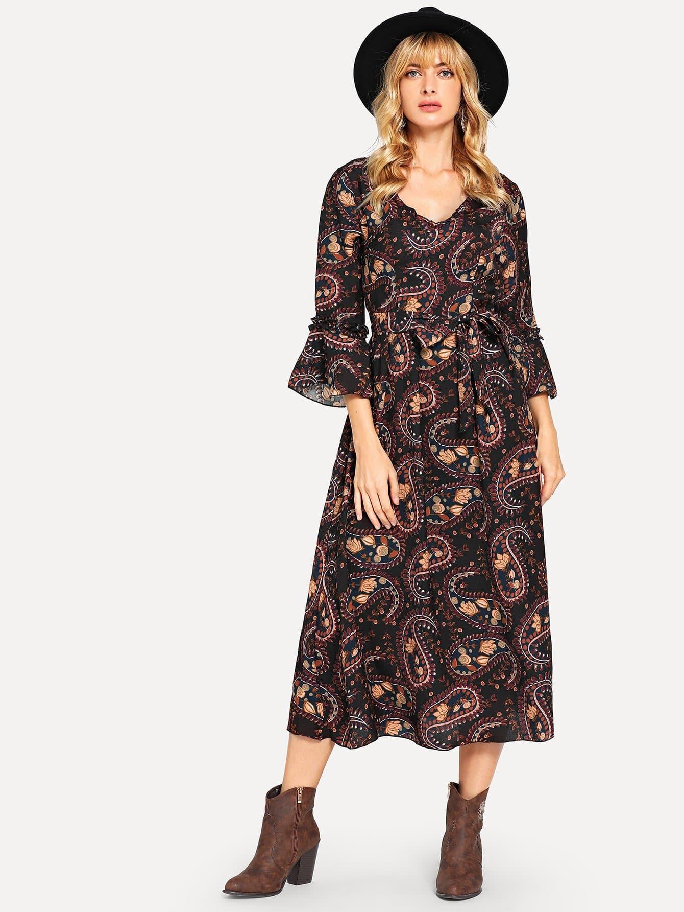 Купить Платье для печати флиса Пейсли, Masha, SheIn