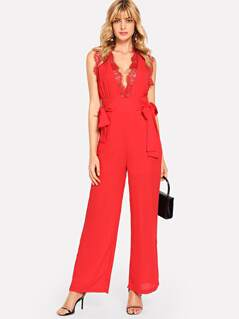 Lace Insert Knot Side Plunging Jumpsuit
