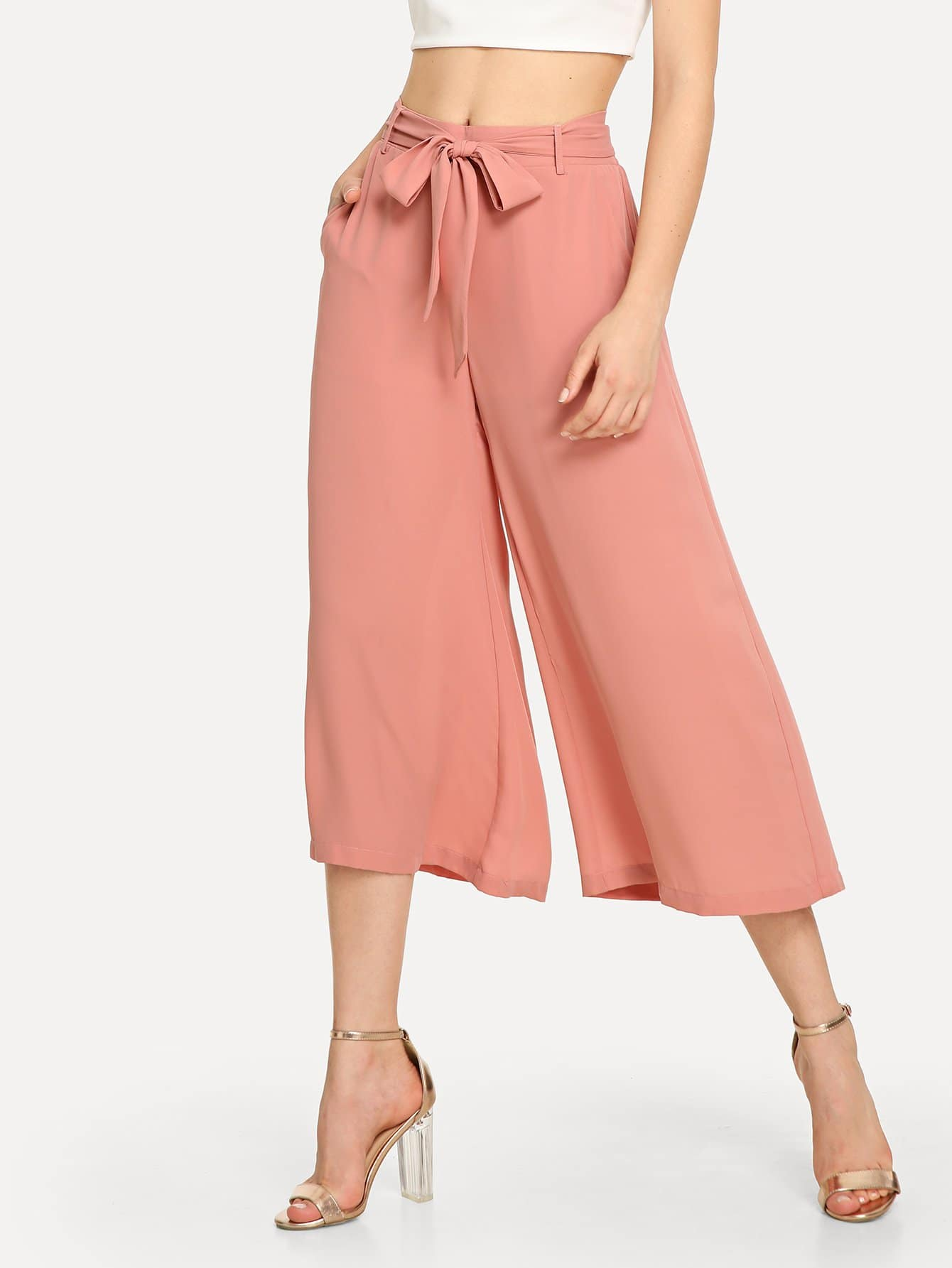 Купить Поясные брюки с широкими ногами, Jana, SheIn