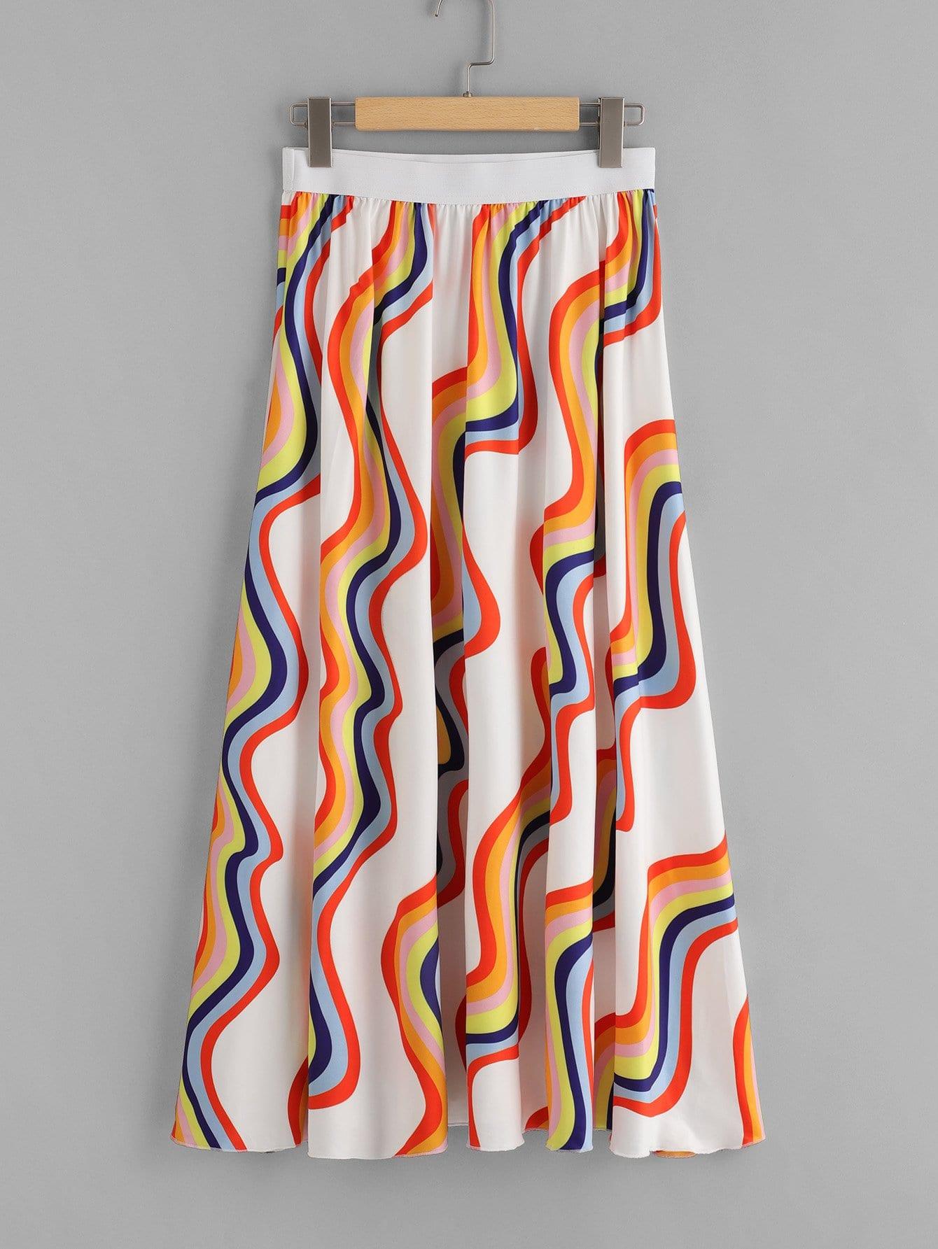Купить Широкая полосатая полосатая юбка, null, SheIn