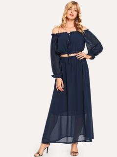 Off Shoulder Lace Up Top & Skirt Co-Ord