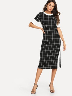 Contrast Tape Grid Pencil Dress