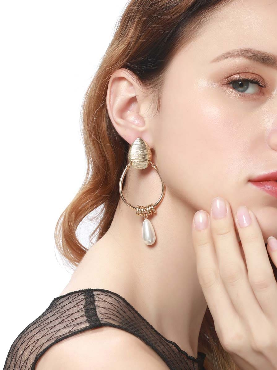 Ring Decorated Hoop Drop Earrings