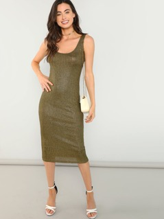 Ribbed Knit Slim Fitted Tank Dress